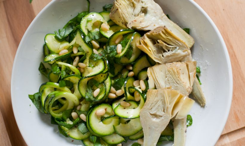Zucchini & Basil Salad with Artichokes